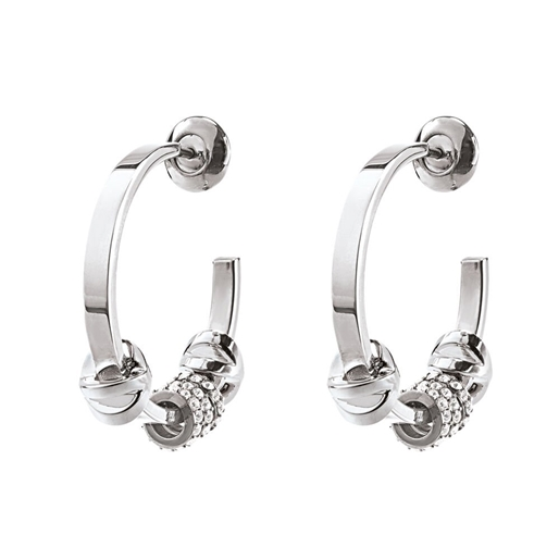 Love Memo Silver Plated Small Hoop Earrings-