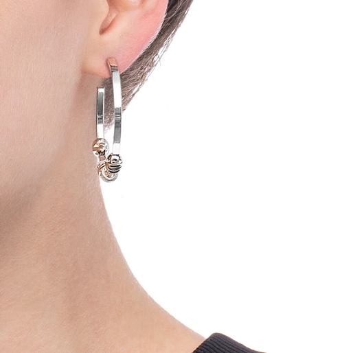 Love Memo Silver Plated Medium Hoop Earrings-