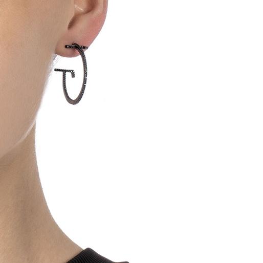 My FF Black Flash Plated Small Hoop Earrings-