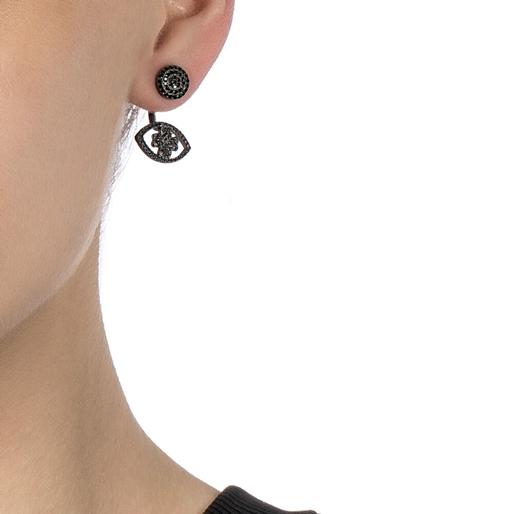 Heart4Heart Mati Black Flash Plated Short Earrings -