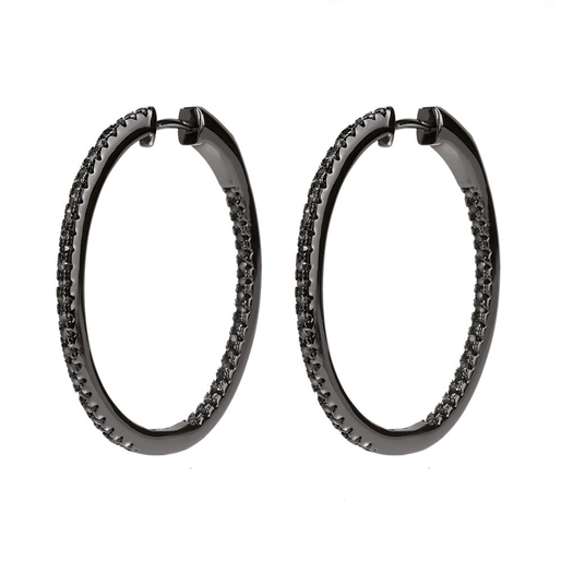 The Essentials Black Flash Plated Small Hoop Earrings-