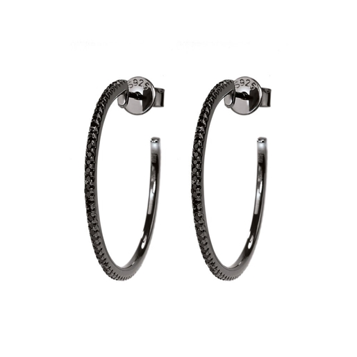 The Essentials Black Flash Plated Medium Hoop Earrings-