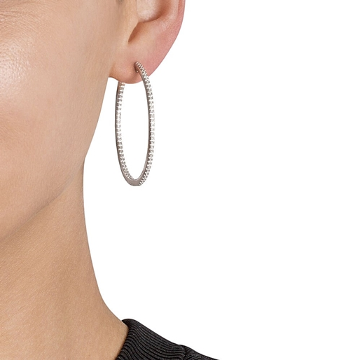 The Essentials Silver 925 Medium Hoop Earrings-