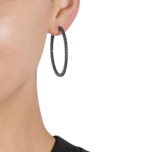 The Essentials Black Flash Plated Medium Hoop Earrings-