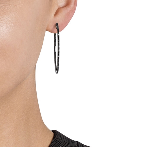 The Essentials Black Flash Plated Large Hoop Earrings-
