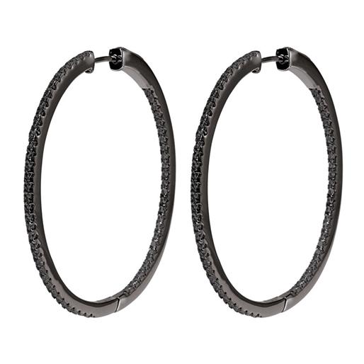The Essentials Black Flash Plated Large Hoop Earrings-