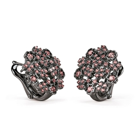 FF Bouquet Silver 925 Black Plated Stud Earrings-