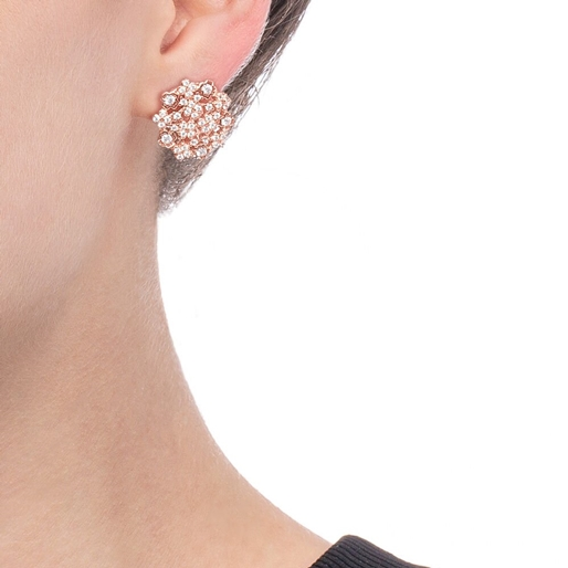 FF Bouquet Silver 925 Rose Gold Plated Stud Earrings-