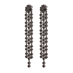 Miss Heart4Heart Silver 925 Black Plated Multi Wear Long Earrings-
