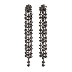 Miss Heart4Heart Silver 925 Black Plated Multi Wear Μακριά Σκουλαρίκια-