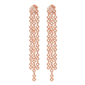 Miss Heart4Heart Silver 925 Rose Gold Plated Multi Wear Μακριά Σκουλαρίκια-
