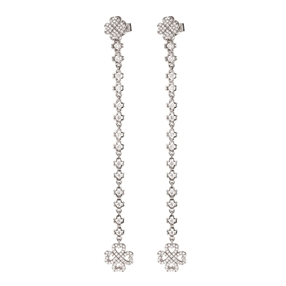 Miss Heart4Heart Silver 925 Rhodium Plated Multi Wear Long Earrings-