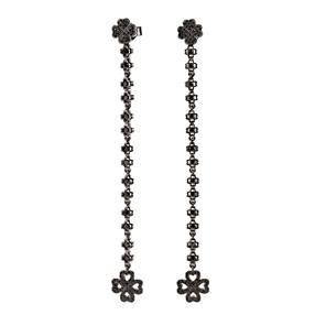 Miss Heart4Heart Silver 925 Black Plated Multi Wear Long Earrings-