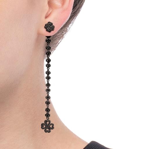 Miss Heart4Heart Silver 925 Black Plated Multi Wear Long Earrings  -
