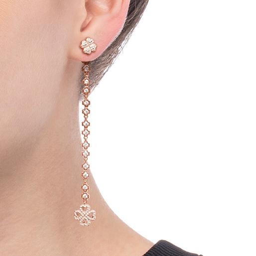 Miss Heart4Heart Silver 925 Rose Gold Plated Multi Wear Μακριά Σκουλαρίκια-