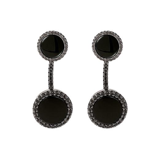 Heart4Heart Mirrors Silver 925 Black Plated Short Earrings -