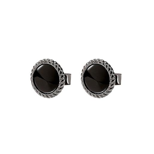 Heart4Heart Mirrors Silver 925 Black Plated Κοντά Σκουλαρίκια-