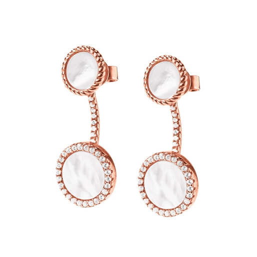 Heart4Heart Mirrors Silver 925 Rose Gold Plated Κοντά Σκουλαρίκια-