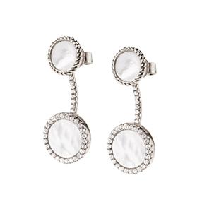 Heart4Heart Mirrors Silver 925 Rhodium Plated Short Earrings-