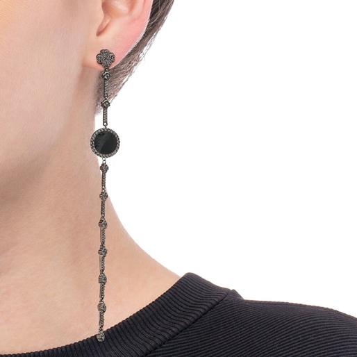 Heart4Heart Mirrors Silver 925 Black Plated Long Earrings -