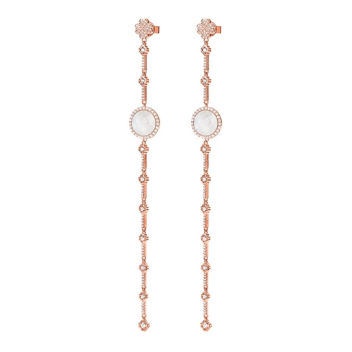 Heart4Heart Mirrors Silver 925 Rose Gold Plated Long Earrings -