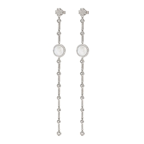 Heart4Heart Mirrors Silver 925 Rhodium Plated Long Earrings-