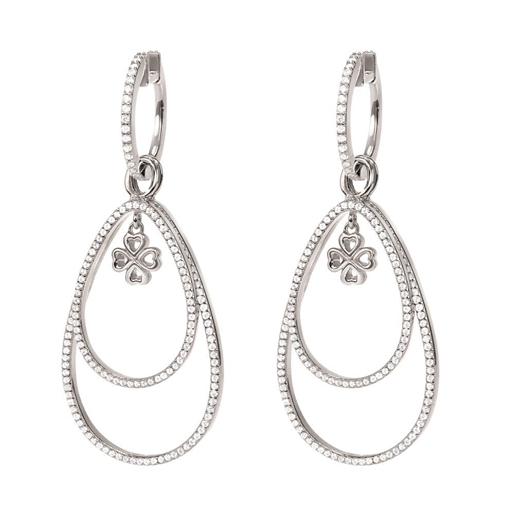 Miss Heart4Heart Silver 925 Rhodium Plated Multi Wear Earrings  -