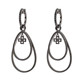 Miss Heart4Heart Silver 925 Black Plated Multi Wear Earrings-