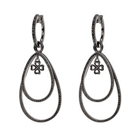 Miss Heart4Heart Silver 925 Black Plated Multi Wear Earrings-