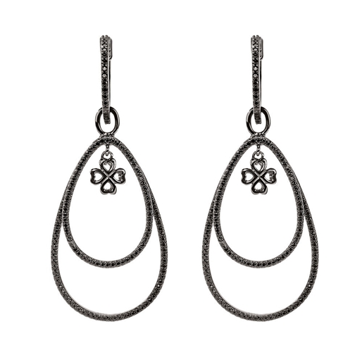 Miss Heart4Heart Silver 925 Black Plated Multi Wear Earrings  -