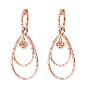 Miss Heart4Heart Silver 925 Rose Gold Plated Multi Wear Σκουλαρίκια-