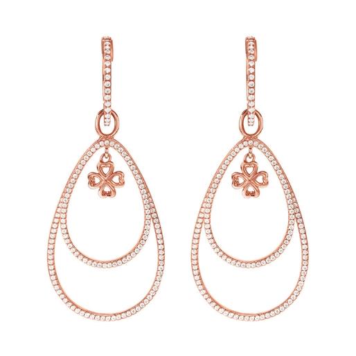 Miss Heart4Heart Silver 925 Rose Gold Plated Multi Wear Earrings  -