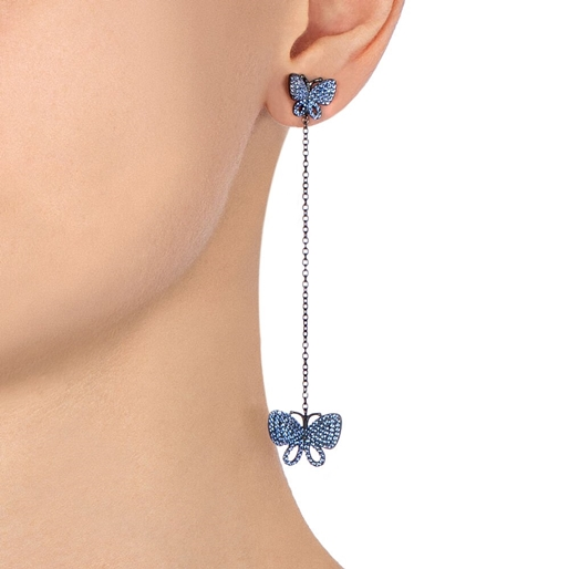 Wonderfly Silver 925 Black Flash Plated Long Earrings-