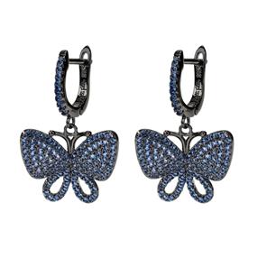 Wonderfly Silver 925 Black Flash Plated Short Earrings-
