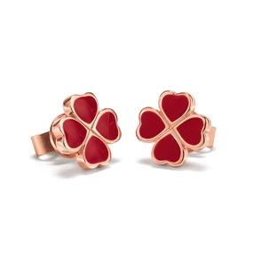 Heart4Heart Chroma Silver 925 Rose Gold Flash Plated Καρφωτά Σκουλαρίκια-