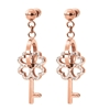 On Key Rose Gold Plated Short Earrings