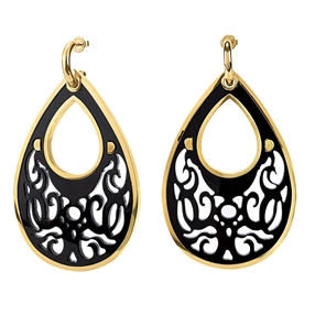 Desire Drops Black Acrylic Large Earrings-