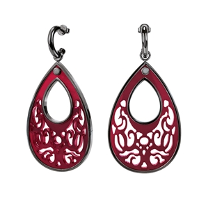 Desire Drops Red Acrylic Medium Earrings-