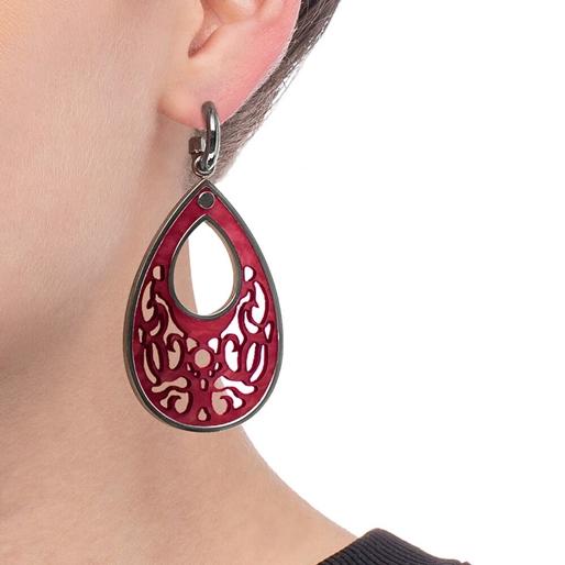Desire Drops Red Acrylic Medium Earrings-