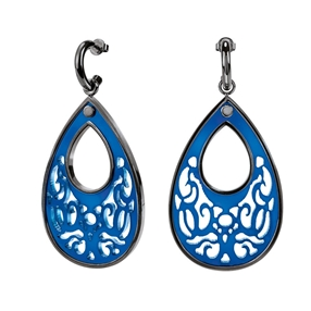 Desire Drops Blue Acrylic Medium Earrings-
