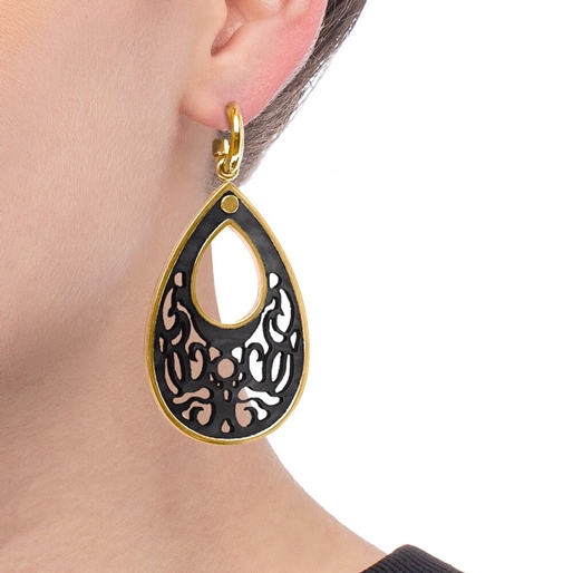 Desire Drops Black Acrylic Medium Earrings-