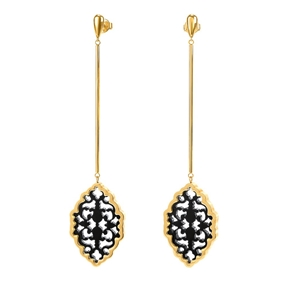Desire Drops Yellow Gold Plated Long Earrings-
