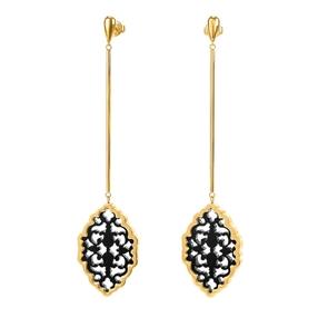 Desire Drops Yellow Gold Plated Long Earrings-