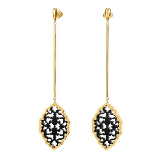 Desire Drops Yellow Gold Plated Long Earrings -