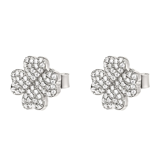 Heart4Heart Silver 925 Rhodium Plated Stud Earrings-