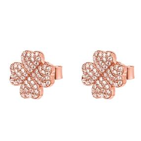 Heart4Heart Silver 925 Rose Gold Plated Stud Earrings-
