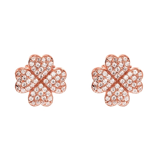 Heart4Heart Silver 925 Rose Gold Plated Stud Earrings-