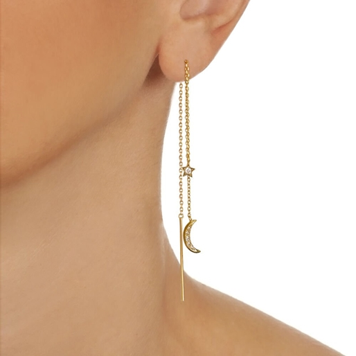 Wishing On Silver 925 18k Yellow Gold Plated Drop Through Earrings-