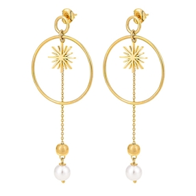 Wishing On Silver 925 18k Yellow Gold Plated Long Earrings-