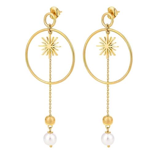 Wishing On Silver 925 18k Yellow Gold Plated Long Earrings-